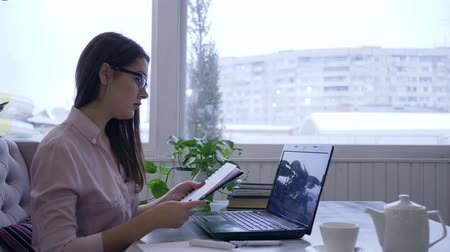 netbook : business development, young woman in eyeglasses using laptop and writes notes with blue marker in notebook sitting at a table near a large window Stock Footage
