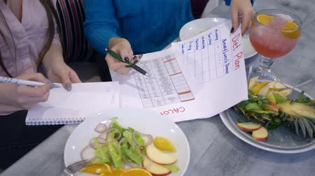 калорий : healthy lifestyle, girls do count calories with diet planning calendar on sheet of paper during lunch close-up Стоковые видеозаписи