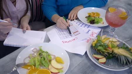 užitečný : slimming female with diet planning calendar do count calories on sheet of paper during healthy food time in restaurant close-up