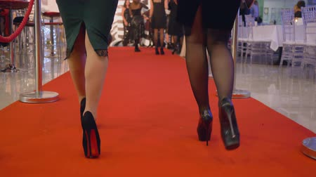 večer : KHERSON, UKRAINE - DECEMBER 01, 2018: celebrated event, gorgeous rich women in elegant dresses in high heels walk red carpet at expensive holiday