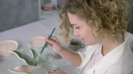 kamenina : handmade earthenware, skillful artist female makes painting on clayware with brush close-up at workshop Dostupné videozáznamy