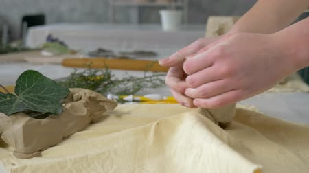 kamenina : ceramist occupation, hands potter kneading clay on worktable for making earthenware at crafting studio close-up