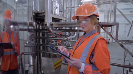 revisione : portrait of happy industrial worker female into hard hat and overall with computer tablet making calculated engineering decisions at factory Filmati Stock