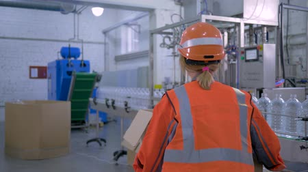 revisione : Strong female at factory, happy forceful woman into hard hat and working clothes carries big heavy box through plant enterprise Filmati Stock