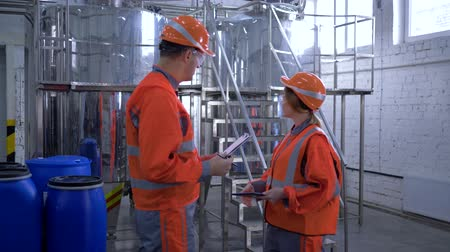 revisione : gender equality at heavy industry, smiling woman with male factory specialist shake hands while walk through plant and discuss new project and making calculated engineering decisions with tablet