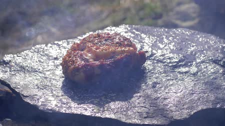 filet : junk food, succulent fatty pork filet in spice fried on hot stone at bonfire with smoke in campsite on nature close-up