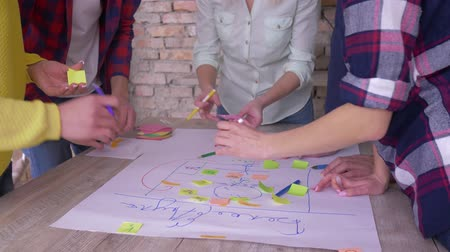 spolupracovníci : Creative teamwork, hands of office employees close up make up new project development business idea on big paper with colored stickers at table in modern office Dostupné videozáznamy