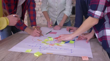 spolupracovníci : successful business team, hands of creative office collaborators applaud during triumph over new project development business idea on big paper with colored stickers at table in modern office