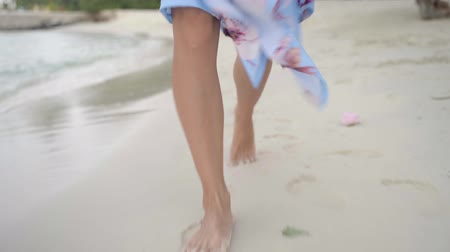pegadas : walk on summer beach, beautiful bare female legs go along wet sand on sea coast close-up