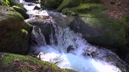 rivulet : natural waterfall runs between large stones covered with green moss and makes splashes and foam in Slow motion close-up
