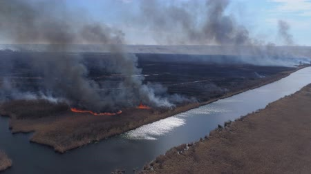 extinguishing : nature calamity, large flames fast moving by dry meadow with smoke going up to heaven near river, aerial survey