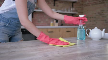 disinfect : professional maid cleaning table carefully for seasonal clean end of year at home in the kitchen