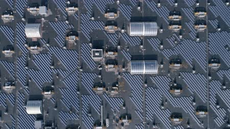 ambientalmente : Green technology energy, lot eco solar arrays on roof of house outdoors, aerial view