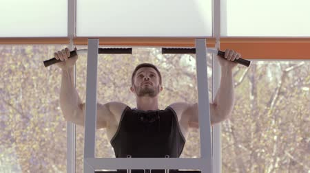 apparatus : sports workout, beautiful sportsman with athletic body pulls up during power training at fitness club