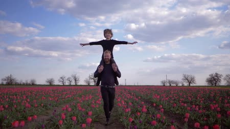 floweret : happy german family, merry father with laughing teenager son spread arms to side sitting on shoulders run around across flowers field of tulips against sky