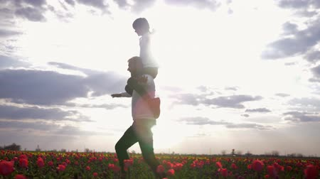 csöves virág : father-child relationship, cheerful dad with son spread arms to side sitting on shoulders having fun on blossom meadow of tulips against sky in bright sunshine backlit