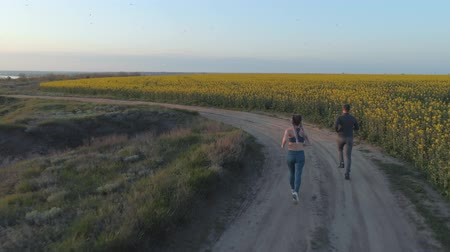 csöves virág : sport run in nature, couple of athletes run along road near rapeseed blooming field during cardio training outdoors, aerial view