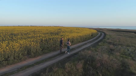 floweret : sports outdoors, sportswoman and sportsman run along road near rapeseed blooming field during cardio workout in nature, aerial survey