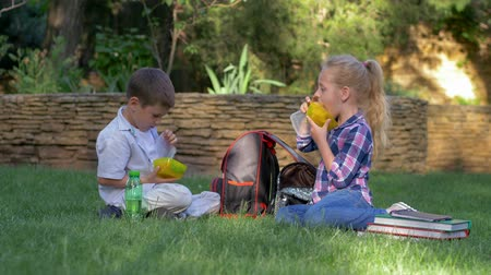 famished : funny hungry friends quickly take out a food containers from backpacks, little boy and girl eating a sandwiches sitting on the lawn in park