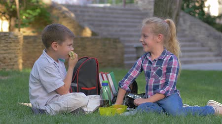 famished : schoolchildren chat during recess lunch with sandwiches in their hands sitting on grass in schoolyard Stock Footage