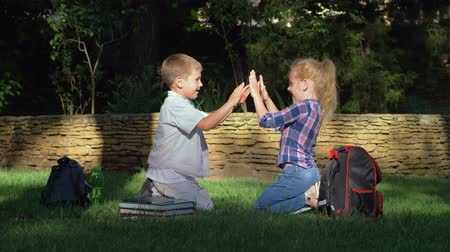 scholar : cheerful schoolboy and schoolgirl playing clapping game sitting on lawn in park after teaching on school break
