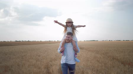 amadurecida : happy family moments, young father runs with little child girl on his shoulders who screams and rejoices laughing and raising up her hands across grain field of matured wheat spikes in harvest season against sky Stock Footage