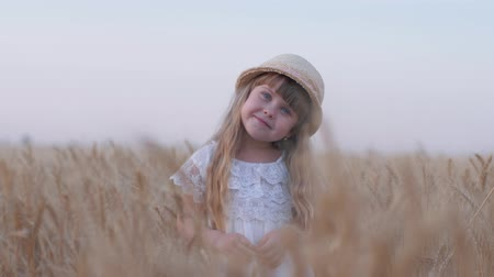 outing : happy childhood, little beautiful fair haired child girl smiles and turns her head standing in golden grain wheat spikes of crop field during weekend outing against sky