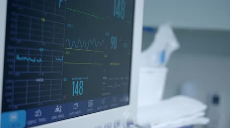narcosis : medical devices, in hospital equipped with modern technologies, device that monitors work of the heart of a patient under anesthesia during an operation to treat diseases