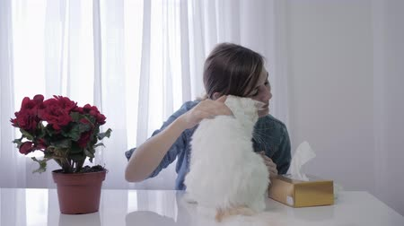 zsebkendő : sick woman, girl sneezes into handkerchief due to seasonal allergies to fur of an animal living in the house