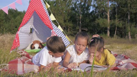 домик : children have rest in nature, little cute friends enjoy resting into forest, read interesting book while lying on picnic coverings during summer holidays on background of wigwam