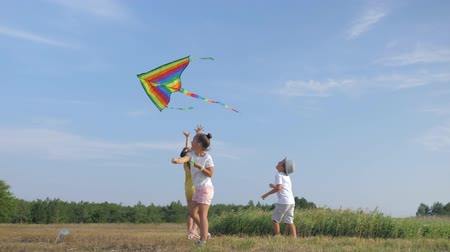 kayran : childrens games, little friends having fun in summer time playing with kite in nature during a summer vacation in forest against blue sky
