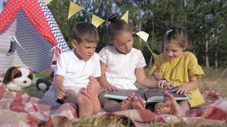 lodge : interaction of children, cute little females and a charismatic male child are reading book for children with interest looking at pictures of relaxing in forest on the background of a wigwam