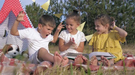 amigos : facial expression, funny children read interesting stories in book to and show funny faces on picnic in forest during summer holidays In countryside