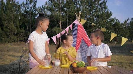 lunchen : picnic in the forest, joyful children have fun drinking milk during lunch while relaxing in nature in summer backdrop of a wigwam