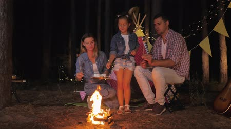 домик : rest in forest, young parents with their joyful child fried marshmallows by fire during night picnic in forest against backdrop of wigwam Стоковые видеозаписи