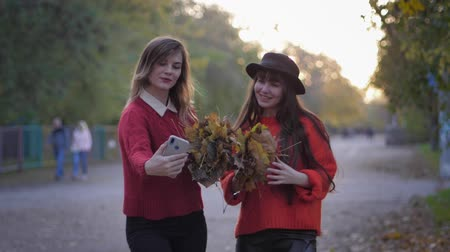 fiatalos : autumn season, young smiling girlfriends take selfie with flying leaves walking in the park during fall foliage
