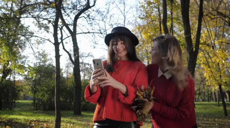 flotta : smiling girlfriends enjoy spending time together and make selfie a beautiful sunny day toss the leaves in the autumn park in the fall season Filmati Stock