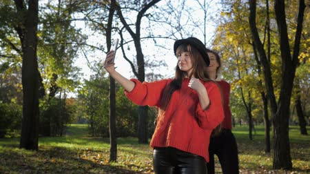 fiatalos : femininity, a young attractive girl cheerfully runs to meet her pretty girlfriend in a hat and take a selfie on the phone with fallen leaves toss him in a beautiful park