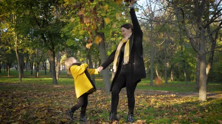parasol : happy family, cute mom and daughter in the autumn park have fun sprinkle on themselves yellow leaves from an umbrella, parent-child relationship Stock Footage