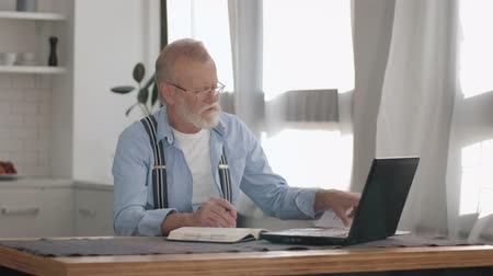 pensão : modern pensioner accountant freelancer performs routine work at a laptop while sorting out accounts at a remote job