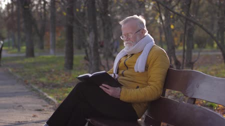 fresh air : old age, pensioner male in eyeglasses with a notebook and a pencil in his hands plans something while sitting on a bench in the autumn park Stock Footage