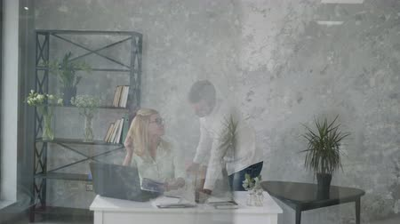 successful entrepreneurs, creative entrepreneurs discuss a strategy of success in a small business for a meeting in the modern with the help of modern technology on a computer, brainstorming Stock Footage