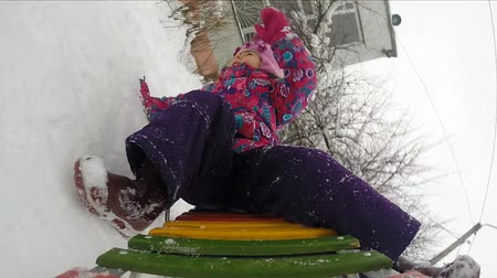 ski run : Child Sledding  and Crash, Kid Playing, Slow  Motion Stock Footage