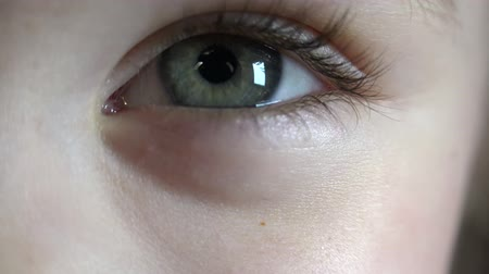 olhos verdes : Close-up Macro Shot of Little Girl Eye Blinking.  4K, UHD, Ultra HD resolution