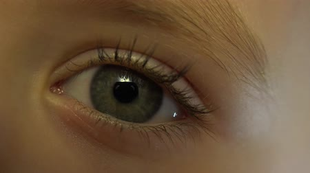 close up shot : Close-up Macro Shot of Little Girl Eye Blinking.  4K, UHD, Ultra HD resolution