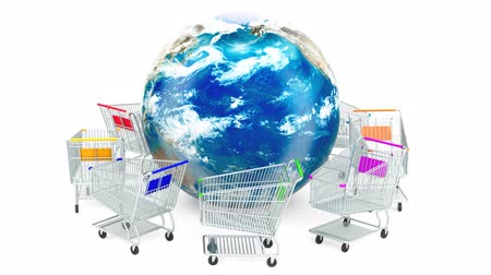 add to cart : Shopping carts are moving around Earth globe, online shopping concept. 3d rendering isolated on white background Stock Footage