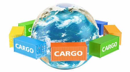 mezinárodní : Rotating Earth Globe with cargo containers. Global cargo shipping concept, 3D rendering isolated on white background