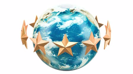 Golden stars rotating around Earth globe, 3D rendering isolated on white background