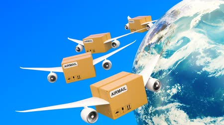 Parcels with wings flying in the sky around Earth globe. Global shipping and delivery concept, 3D rendering