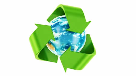 Recycling world concept. Recycle symbol rotating around the Earth Globe, 3D rendering Dostupné videozáznamy